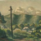 小林多喜二水彩画「夕陽に映ゆる山村」