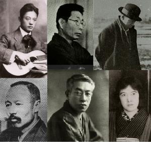 左上から萩原朔太郎、室生犀星、宮沢賢治、右下から森鷗外、島崎藤村、与謝野晶子